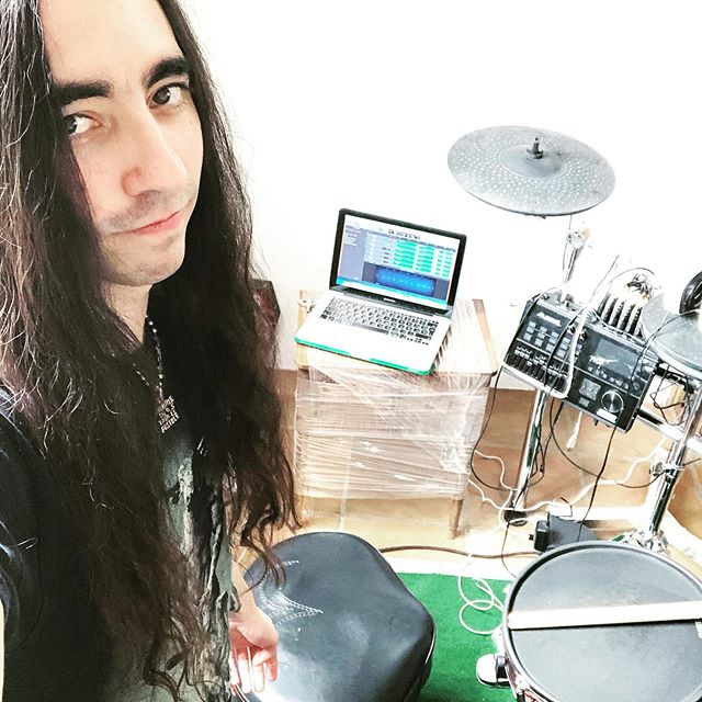 Hello from the New Studio! New Drum Cover drops on Sunday🔥🤘🏻 @alesis_gear #drums #drummer #drumming #gothic #man #newstudio #musician #alesis  #metalhead #metalguy #blackmetalhead #witch #guyswithlonghair #longhairedguys #longhairedmen #dark #tattoo #vampire #drumkit #gothguy #goth #blackmetal  #rock #metal  #baterista #viking #tattoedmen #heavymetal #studio #alesisstrikepro