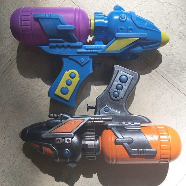 $2 water guns. #beforeandafter #rayguns