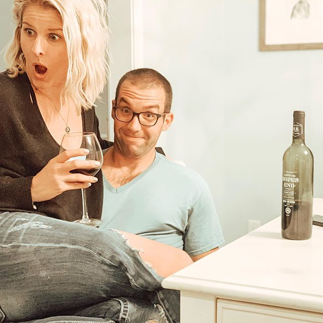 This is pretty much the expected result when I ask my husband to participate in a photo. 🤦🏼‍♀️ And this was the BEST of the 30+ photos. Some involved him staring straight at my chest, others I gave up and was trying to feed him the wine 😂 • Thank goodness for the @hopesendwine to get me through it. We tried the red blend tonight and I think it might be my favorite from Hopes End! • • • #photofail #husbandsofinstagram #love #blogger #fashion #style #family #wine #winenot #hopesendwine #saturdaynight #gifted #redwine #redblend #liketoknowit #liketoknowitfamily #liketoknowithome