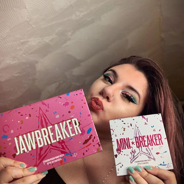 """used the #jawbreakerpalette to create this look! it's a simple pastel glam, but i'm super in love with it & it even matches my nails lol. going to dive into the mini-breaker soon & maybe film a video for y'all <3 ———— moisturizer: @olehenriksen counter balance oil hydrator primer: @tatcha the silk canvas foundation: @fentybeauty pro filt'r soft matte foundation in 120 concealer: @fentybeauty pro filt'r instant retouch concealer  powder: @lauramercier translucent setting loose setting powder  contour: @katvondbeauty shade + light contour palette in sombre & @physiciansformula butter bronzer in shade """"bronzer""""  blush: @anastasiabeverlyhills blush trio in pink passion (all three shades mixed) eyebrows: @anastasiabeverlyhills dip brow pomade in medium brown  eyeshadow: @jeffreestarcosmetics jawbreaker eyeshadow palette  eyeliner: @katvondbeauty tattoo liner in trooper black  mascara: @benefitcosmetics rolled lash false lashes: @lillylashes in the style miami (with duo lash adhesive) highlighter: @jeffreestarcosmetics skin frost in ice cold liquid lipstick: @kyliecosmetics matte liquid lipstick in """"one wish"""" setting spray: @morphebrushes prep & set & @urbandecaycosmetics deslick setting spray.  #makeup #flawless #blended #eyeshadow #eyeliner #jeffreestar #katvond #lipstick #makeuplook #artist #fantasy #living #livid #explore #explorepage #jeffreestar #skinfrost #bluebloodpalette #nars #fenty #fentybeauty #liquidlipstick #lipgloss"""