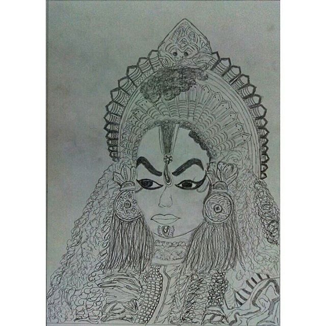 "PC- @athul_capture ""rather than DBZ🔥, tried to draw something new"" {KOLA also known as the worship of Daivas or Demi-God. This tradition dates back to 700-800BC. This is an ancient ritual amongst the tulu speaking community in Dakshina Kannada district in Karnataka.}❤ #dharmadaiva #tulunadculture #sketch #kolanema #kudla #karavali #Gaggara #daivaradhane #nammakudla #mangalore"