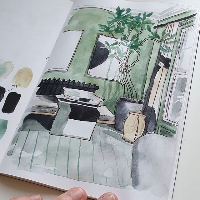 Watercolor sketch of a room I did recently 🌿 sorry for being a little quiet on the posting front, I just haven't been sketching a lot this week :/ . . . #sketchbook #illo #watercolor #watercolorsketch #danielsmithwatercolor {ad, because I mention brands/people. notsponsored/unpaid, I bought all supplies myself but advertisement for myself}