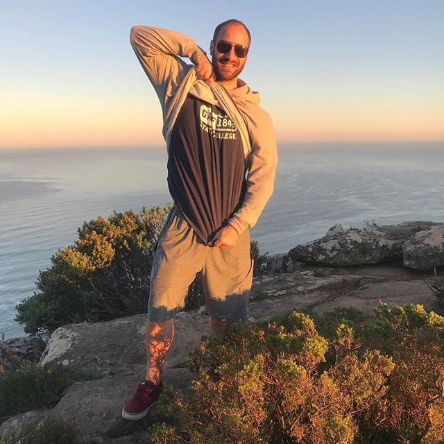@thegaff_psu at the top of #Nittany Lion's Head Mtn, Cape Town, ZA #thegaff #pennstate #maamplease #sapes #sapia #capetown #southafrica #lionshead #PSU #fratrow #vans #patagonia