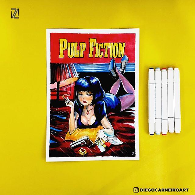 Pulp fiction Markers on paper!  This artwork are for SALE! Link on bio! #art #originalartforsale #artforsale #collectible #vampirella #vampire #sexy #marvel #comics #comicsart #art #comission #girls #sexy #artforsale #pulpfiction #sexy #art #auction #comicbookcollection #quentintarantino #onceuponatimeinhollywood #movies #classic #markers #copic #speedpaint #timelapse #artforsale