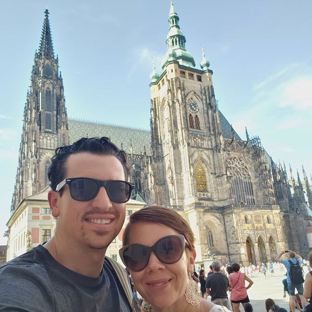 We Arrived in Prague. Here we are in front of  #stvituscathedral at the Prague Castle! #prague