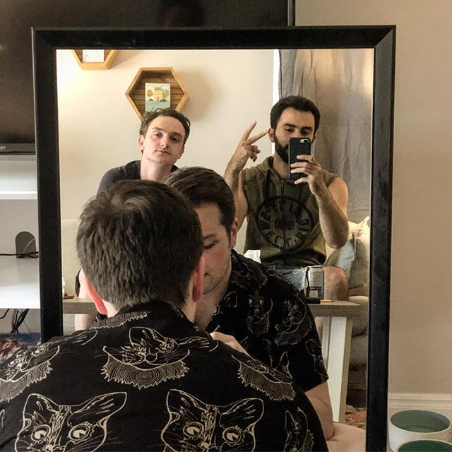 If you haven't seen our latest video, the link is in my bio so please check it out ! You get to see @taylormcwatters and @adam_mccannell nipples 👍🏼#jdkproductions #youtubecomedy #actualcomedy #onenightstand #tuesdayvibes #mirrors #justintimberlake
