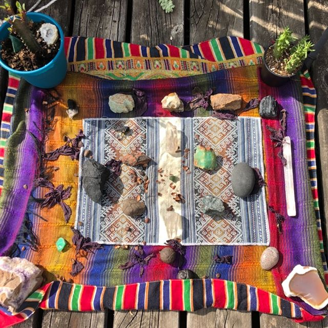 My mesa basking in the sun....spent the evening outside soaking up the rays of the full moon in Aquarius • • #mesa #shamanichealing #cleansing #transformation #transcendence #awakening #higherconsciousness #gemstones #kuya