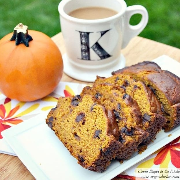 "Moist Pumpkin Chocolate Chip Bread.  Is anyone else ready for fall weather?? I think I'm just gonna bake everything pumpkin and force the weather to cool off.  It's worth a try, right? .  Find this recipe on my site @singerinkitchen under ""pumpkin bread"". . . . . . . . . . . . . . . . #singerinkitchen #coconutoil #pumpkin #pumpkinseason #pumpkineverything #bread #breakfast #dessert #coffee #food #f52grams #feedfeed #bestfoodfeed #foodblogeats #food #foodiesofinstagram #ontheblog #vegetarian #fallrecipes #philly #delco #recipes #homebaking #fall #baking #delish #igdaily #pbsfood #nytimesfood"