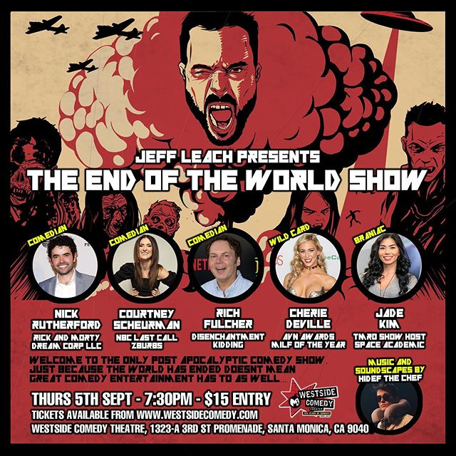 Come check out the End Of The World Show on Thurs!!! I'll be doing the music and having some fun on stage. Tickets at @westsidecomedy bio.