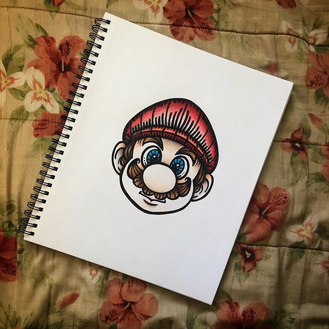 It's a me!  Mario! . . . . . . . . . . . . . .  #SamanthaElisa  #artfair #artfido _art #artofdrawingg #artists_help #art_conquest #artistmafia #artoftheday #artistic_empire #creativelife #artsanity #art_motive#penartist #supersmashbros #houstonartist #nintendofanart #supermariokart #mariokart64 #supermariobrostattoo