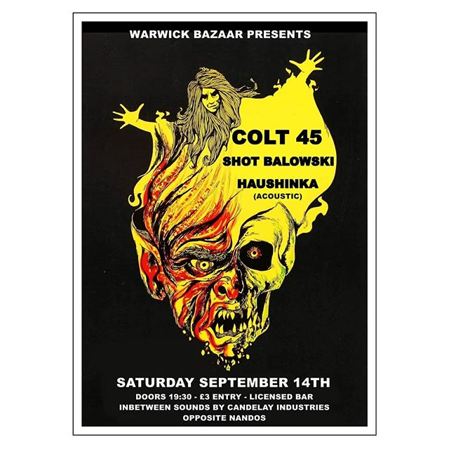 We support proper local leg-ends @wearecolt45 at @warwickbazaar in Carlisle on Saturday 14 September, with a mostly acoustic set from @haushinkauk - Lovely poster by @daglief 👏 #punk #rock #punkrock #postpunk #hardcore #indie #poster #artwork #music #gig #concert #show #events #listings #carlisle #cumbria #opposite #nandos 🐥 #northwest #england 🍻