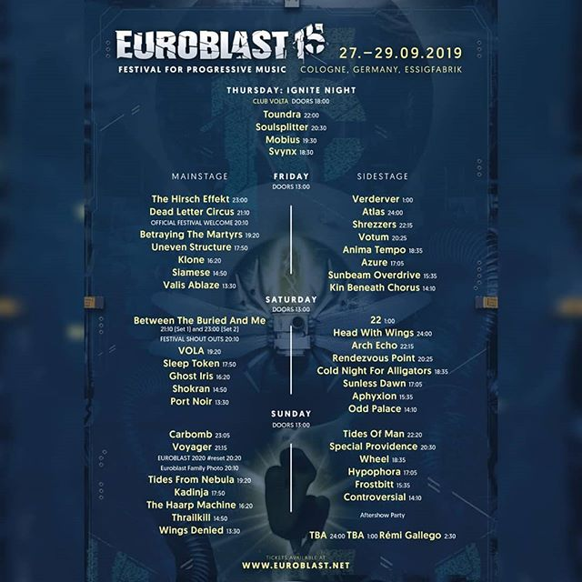 Day splits for @euroblast_official ! Be sure to come early enough to catch us, cause we are ready for some fireeee 🔥🔥🔥 . . . . #euroblast2019 #euroblast #metal #festival #modernmetal #metalcore #deathcore