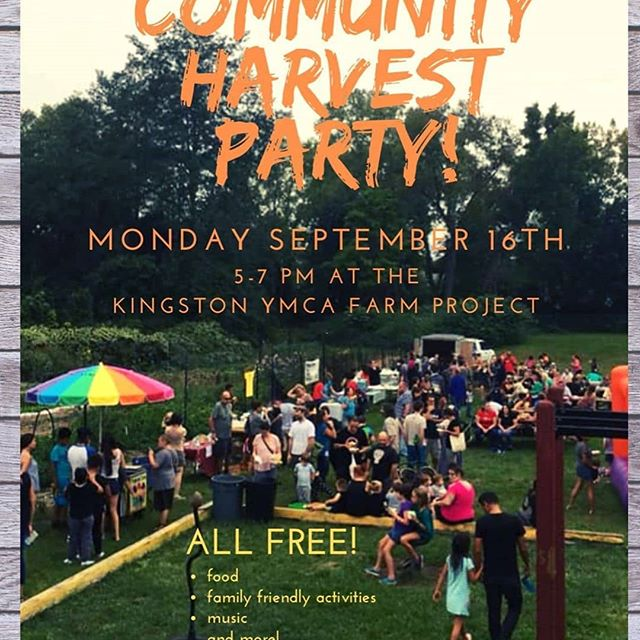 #Repost @yfarmkingston ・・・ Hope to see you at our annual Community Harvest Party. 5-7pm at the farm.  Enjoy fun & food... all for free! The Bruderhof community will be here grilling, along with @hvfarmhub 🌽 that we'll have roasted, rice & beans from @peacenationcafe, and tamales!  @turnupthebeetjuice will be sharing juice samples with some ingredients from the farm.  Both the Farm & BARK youth crews will be working during the party helping us run the event including helping with the bouncy house, apple 🍎 cider press & popcorn 🍿 !  Please plan to park at the Y and walk over to the farm.  See you on the 16th!  #growingahealthierkingston #kingstonymcafarmproject.org