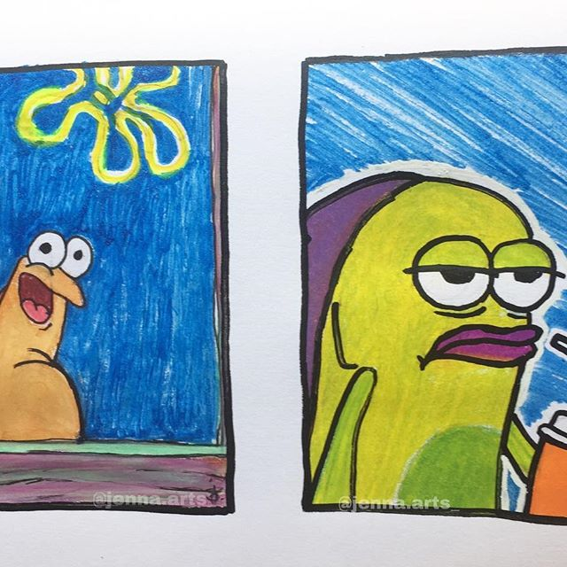 Hey guys, this is also inspired by @int2art. I  unexpectedly enjoy drawing memes, so I might do them more. Also, I used @korolapaint pens for the background. Anyways, Wdyt? - #art #artist #artistsoninstagram #artistsofinstagram #artwork  #artistic #artistic_support #draw #drawings #explore #spongebobmemes #spongebob #spongebobmeme #memedrawing #korolapaint