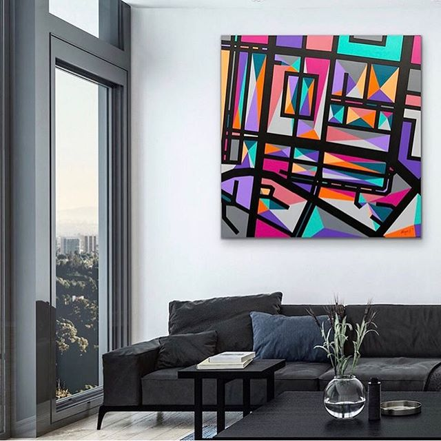 @petatranquilleartist abstract urban map paintings add beauty and happy to any room! 🤗💜🧡Via @artroomsapp #colorstreet #melbourneartist