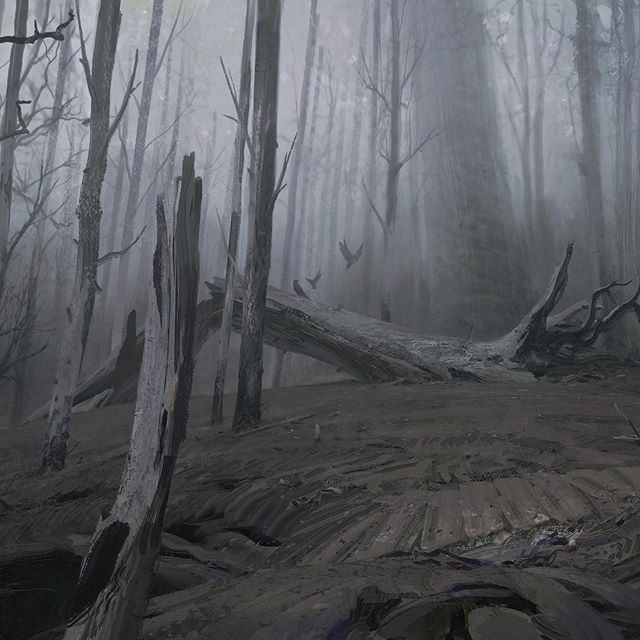 Concept for Kiss Me First on Netflix from a few years ago. Goal was to make the forest real dead and spooky☠️☠️☠️ Had a good time working on the barky textures of the trees. Swipe along for the full concept ➡️ Also I've just updated my artstation with a tonne of new work check link in my bio to peep that ________________ #art #conceptart #illustration #landscapepainting #spooky #dead #netflix #paintingswow #artstation #illustrationdaily #environmentdesign