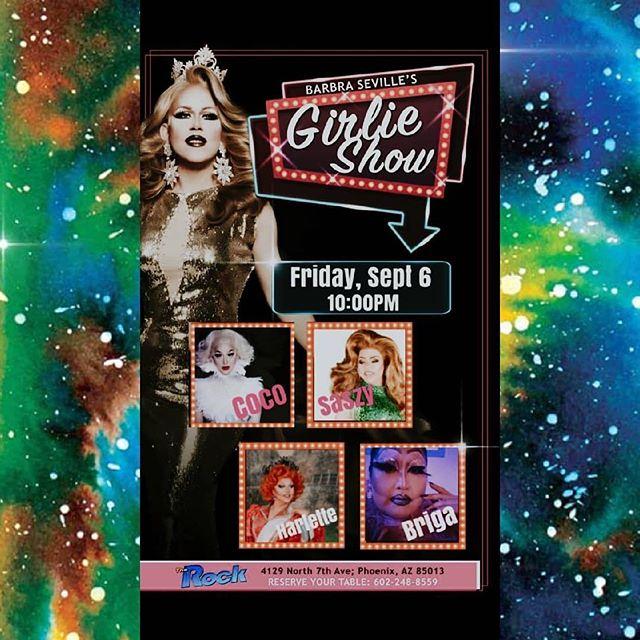 Tomorrow night at @therockphx show start 10pm. @barbraseville Girlie Show with @coco_st_james @saszydelacruz @harlettequeen and me 🥰 @brigabrastrap. #dragqueen #dragshow #phoenixarizona #melrose #therock #gay #brigabrastrap #localqueen