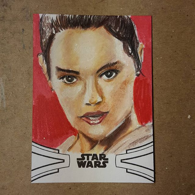 Topps Star Wars Skywalker Saga trading cards are out in stores now! Find my art in packs now! Glamour Shots! #rey #daisyridley #jedi #ahchto #jeditemple #theforceawakens #thelastjedi #starwars #starwarsartist #starwarsart #topps #sketchcard  #sketchcards #artisttradingcard #fanart #portrait #coloredpencil #prismacolor #toppsstarwars #artist #pencildrawing #sketch #sketchcardartist #draw #dailydrawing #mantis923