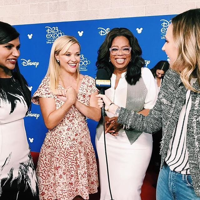 We got the #WrinkleInTime scoop from #MindyKaling, #ReeseWitherspoon and #Oprah at #D23Expo. Catch our interviews tonight! (📷: @keltieknight)