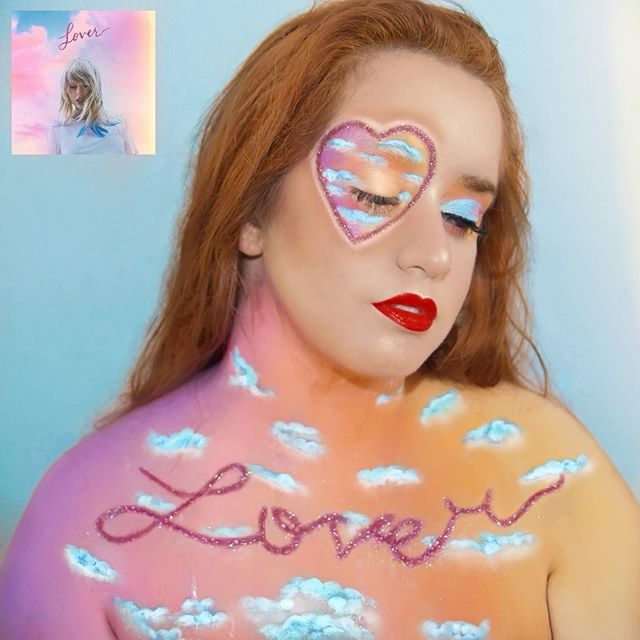 "Makeup inspired by @taylorswift - Lover (album cover) // @tswiftita 🇮🇹✨ Spero vi piaccia! 💖 — Prodotti usati: ☁️ @nyxcosmetics_italy : Epic Ink Liner • White Liquid Linee • Sfx Crème Colour ""White"" • Ultimate Eyeshadow Palette ""Brights"" • Glitter Primer - ☁️ @ilusciousworks ""Foxy"" & ""Luscious"" Lashes | @givefacecos ""Wish"" Ultrafine & ""Barbarella"" Glitter - ☁️ @morphebrushes : 35B Eyeshadow Palette | @maccosmeticsitalia : Ruby Woo Lipstick — #Lover #taylorswift #italianlovers #taylorswiftvideos @taylornation #taylorswiftedit #undiscovered_muas #nyxcosmeticsitaly #nyxcosmetics #nyxitalia #makeup #makeupgoals #myartistcommunity @sephoraitalia #morphebabe #nyxcosmetics_uk #nyxcosmetics_es #nyxcosmeticsbaltics #nyxcosmeticsgermany #nyxcosmeticsfrance #sephorabeautycommunity #undiscoveredmakeupartist #givefacecosmetics #makeuplooks #getfleektured #makeupinspiration #unleashyourinnerartist #flawlesssdolls #100daysofmakeupchallenge #100daysofmakeup #creativemakeup #makeup #universomakeup ♡"