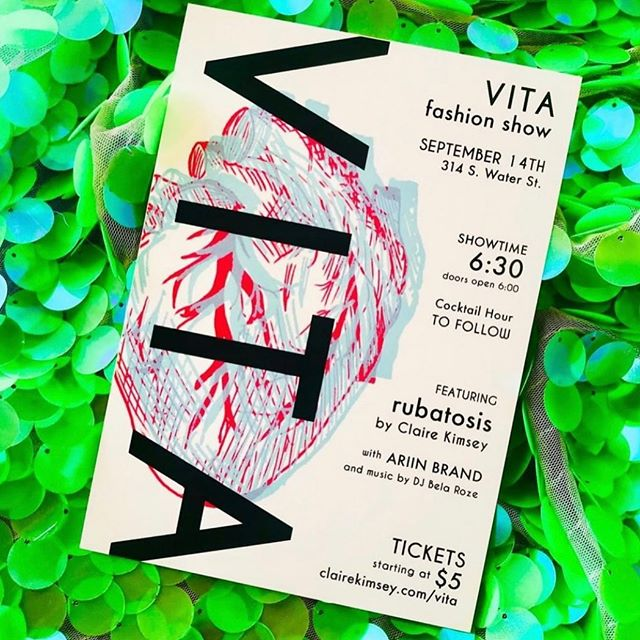 TODAY IS THE DAY 💃🏻♥️ VITA: fashion show 💙 September 14th at 314 S. Water St. (@publicworkscoffee), doors open at 6:00pm with a cocktail hour to follow 🥂 Featuring the Rubatosis collection by @clairekimseydesigns with @ariinbrand opening and music by @bela.roze 💃🏻🎶🎧