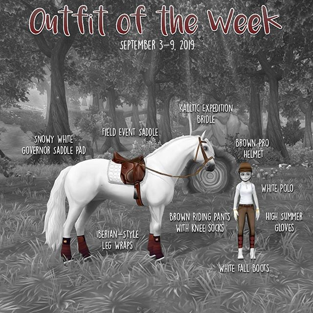 ⠀ ⠀⠀⠀ *★*:~~:*☽*:~~:*★*:~~:*☽*:~~:*★* ⠀ ⠀⠀⠀ OUTFIT OF THE WEEK | SEPTEMBER 3-9, 2019 ⠀ ⠀⠀⠀ Someone had asked if I could make a more realistic riding outfit so here we are! I don't think I've actually ever worn these pants because I couldn't match the socks to anything so here we go! ⠀ ⠀⠀⠀ OUTFIT RIDER Brown Pro Helmet White Polo Brown Riding Pants with Knee Socks High Summer Gloves White Fall Boots ⠀ ⠀⠀⠀ HORSE TACK Field Event Saddle Kalltic Expedition Bridle Snowy White Governor Saddle Pad Iberian-Style Leg Wraps ⠀ ⠀⠀⠀ *★*:~~:*☽*:~~:*★*:~~:*☽*:~~:*★* ⠀ ⠀⠀⠀ Used: Photoshop CC 2018 Tablet: Wacom Intuos Pro ⠀ ⠀⠀⠀ *★*:~~:*☽*:~~:*★*:~~:*☽*:~~:*★* ⠀ ⠀⠀⠀ Game: @starstableonline ⠀ ⠀⠀⠀ *★*:~~:*☽*:~~:*★*:~~:*☽*:~~:*★* ⠀ ⠀⠀⠀ Tags: #starstableonline #sso #starstable #ssoedit #starstableedit #ssoedits #starstableedits #starstableonly #ssofashion