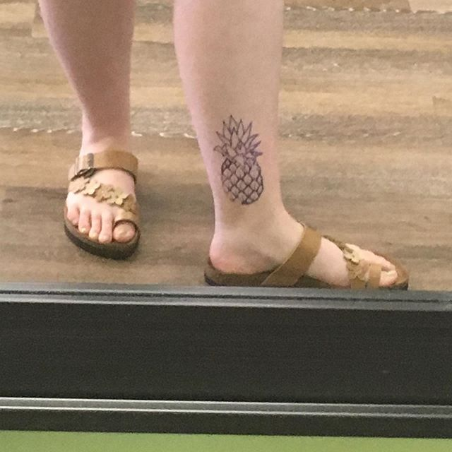 Almost three weeks ago me and my best friend walked into  @permanentvacationtattoos for walk in pineapples! I wanted traditional, she wanted abstract. @travisart71 took care of us and both of our pieces turned out AMAZING. Im so in love with my lil pineapple and Travis was amazingly skilled and super fun. If you ever need a piece done head over to Permanent Vacation tattoos and ask for Travis.  First pic is the stencil Second freshly done Third is almost three weeks healed