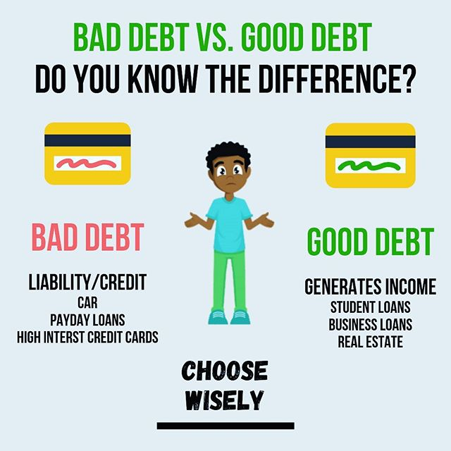 Bad Debt vs. Good Debt 💳  Student Loans is tricky, as it depends on if your job makes you more than your monthly loan payments.  If you love this post, than leave a like, comment and let us all know 👇🏽 Have a wonderful day ❤️ Follow us at @choosewiselyllc  Don't forget to turn on notifications 🛎  #entrepreneur #entrepreneurlife #inspirationalquotes #dailyqoutes #qoutes #money #mindset #businessmindset101 #debt