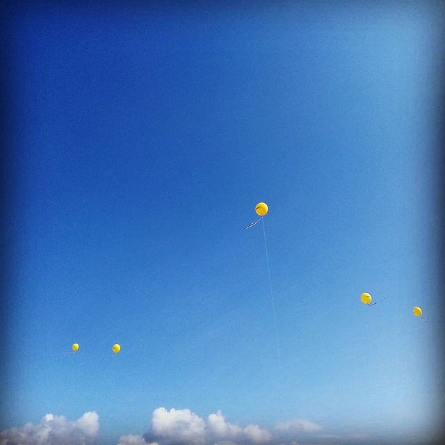 #palloncini #gialli #cielo #blu #nuvole #inaugurazione #maurys  #yellow #baloons 🎈 #blu #sky #clouds #store #instacolor #instablu #instasky #baloonsinthesky
