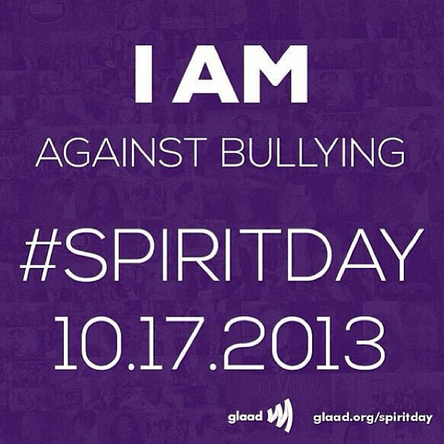 I am against bullying. Wear #purple today for #SpiritDay. #AgainstBullying #glaad Go to glaad.org/SpiritDay