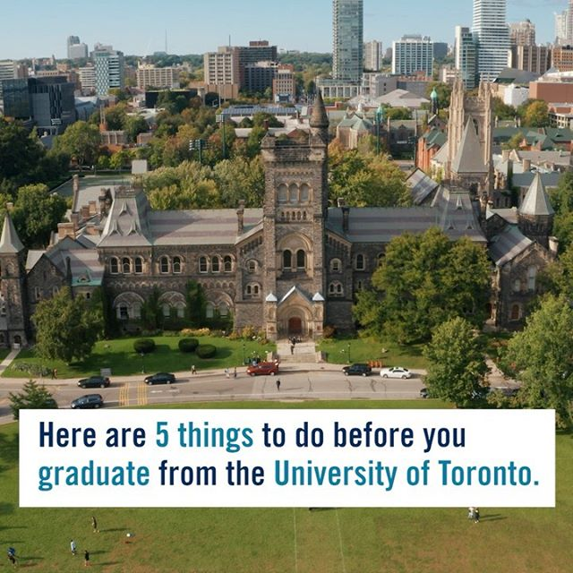 Whether you're new to #UofT or graduating this year, try these 5 things for a great university experience. ⠀⠀⠀⠀⠀⠀⠀⠀ Get the full bucket list of 23 things for the #Classof2023 at our link in bio. ✔️ ⠀⠀⠀⠀⠀⠀⠀⠀ More tips to add? 👋 Share them in the comments.
