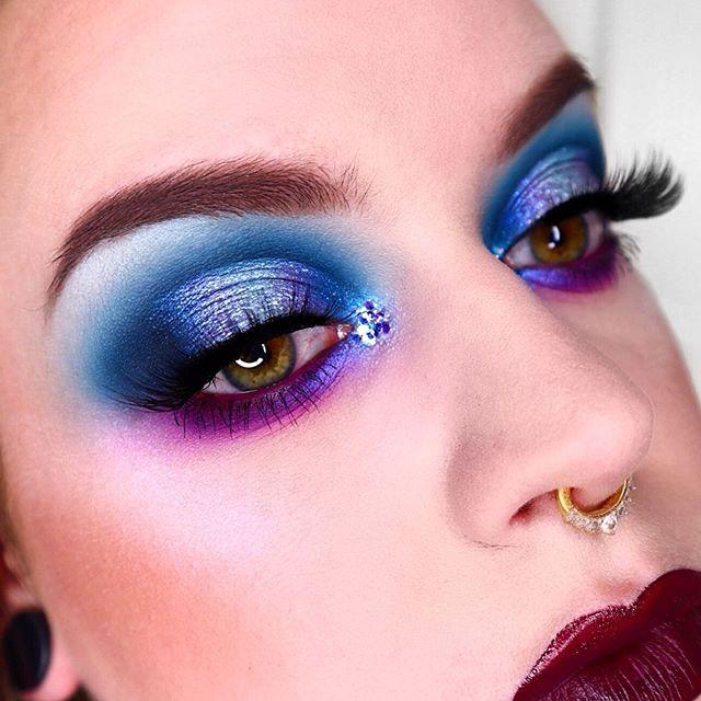 "💙💜 • • Eyes: @morphebrushes X @jamescharles Palette ""Hello / Artistry / Spooky / Escape"" @bperfectcosmetics X @staceymariemua Carnival XL Palette ""Mood / Soft Spot / Wasted"" @sugarpill ""Tako"" @maccosmetics Liquid Dazzleshadow ""Diamond Crumbles"" @katvondbeauty Alchemist Palette ""Amethyst / Saphyre"" @makeupbymariamalki Lashes ""Luxy"" • Brows:  @anastasiabeverlyhills Browgel ""Clear / Espresso"" . • •  #morphe #morphebabe #septumpiercing #sugarpillcosmetics #100daysofmakeup #glittermakeup #unleashyourinnerartist #vegas_nay  #norvina #anastasiabeverlyhills #makeupbyme #abhbrows #maryhadalittleglam #halfcutcrease #cutcrease #glittercutcrease #katvond  #katvondbeauty #freelancemakeupartist #makeupartists #makeupartistworldwide #undiscovered_muas #blueeyeshadow  #purpleeyeshadow  #wakeupandmakeup  @hypnaughty.makeup @theartistedit @wakeupandmakeup  @100daysofmakeup"
