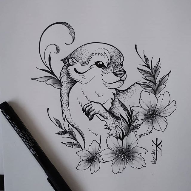 🖤 Happy Otter 🖤 She is as happy as me, because it rains today ✨🤗✨ How many #RainLover 's are having a beautiful gray day out there? By the way, this design is AVAILABLE, like many others. If you're interested, send me a message (: 🍃 ● DISEGNI E APPUNTAMENTI DISPONIBILI ● Per info, scrivimi un messaggio (: ● DESIGNS UND TERMINE VERFÜGBAR ● Für Infos, bitte schreib mir (: 🍃 #Otter #OtterLove #Flowers #Nature #Cute #Tattoo #TattooLife #TattooInspiration #Dotwork #Blackwork #Blackworkers #Salurn #Südtirol #RunaViva #TheSoulLanguage #SpokenWithTheBody