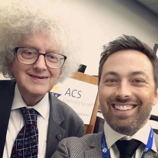 What it feels like to hang out with Prof Sir Martyn Poliakoff. Great bumping into you at the @amerchemsociety meeting in San Diego. @brady_haran @periodicvideos featured prominently in his talk.