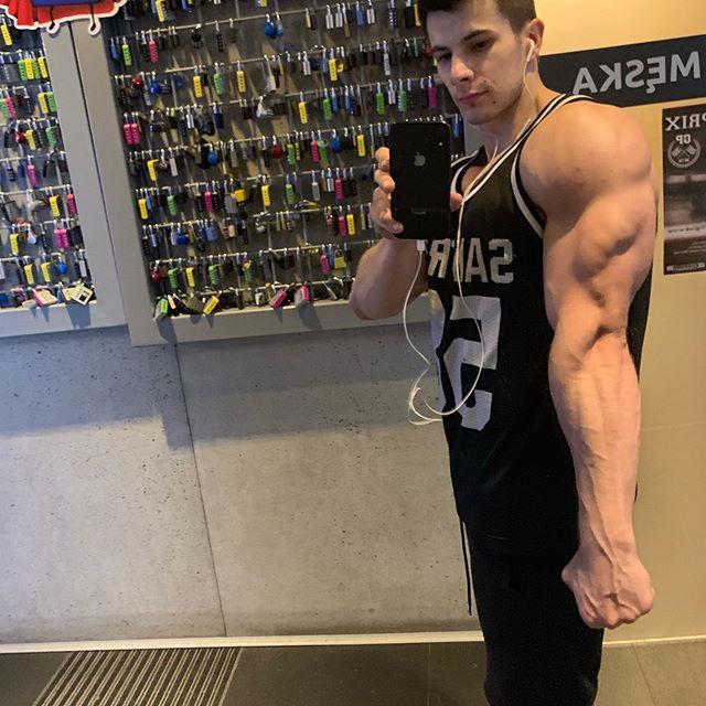 Dzisiaj chęci do treningu 1/10 ale..podołałem☝️ Dziele teraz trening na: -Klata plecy -Nogi + ramiona Przerwa i od nowa, dla mnie rewelacja 💪 #kulturystyka #triceps #selfie