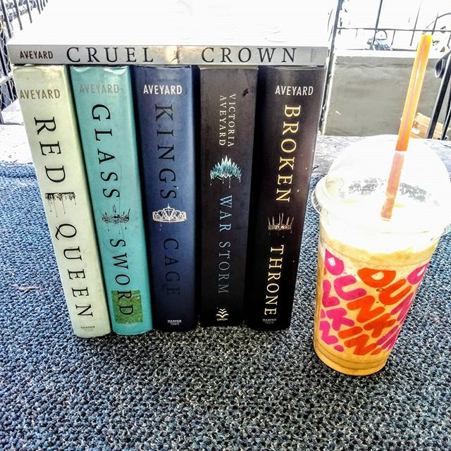 Happy Monday Afternoon Everybody!  Beautiful Cool Afternoon!😎 Love my husband no matter what time it is he always get my coffee ☕. Having my Caramel Frozen Cold-Coffee!☕😋 #bookandcoffee #coffeeandbooks 📚👑📚👑📚👑📚👑📚👑📚👑📚👑📚👑📚👑 I'm join in @hooked.by.books this month challenge will fantasy reads.  #hookedonfantasy So excited to read all this cuz this been in my shelf for very long.  So come join Everybody, this is so fun. 🍁🍂👑 Red Queen Series by Victoria Aveyard 👸👑 1.) Red Queen #redqueen 2.) Glass Sword #glasssword 3.) King's Cage #kingscage 4.) War Storm #warstorm 5.) Broken Throne #brokenthrone 6.) Cruel Crown  #cruelcrown 🍁🍂 Also @novelgossip @reallyintothis #fallintomybacklist starting 9/16/19 all the way to the end of December. This are just some of them!  Come join Everybody! 📚👑📚👑📚👑📚👑📚👑📚👑📚👑📚👑📚👑 #bookstagram #bookaddict #booknerd #bookworm #booklover #bookreader  #bookmom #yafiction #bookheaven #bookwormmommy #ya #yareads #fantasyreads #booknerdmommy  #bookstagrammer  #bookiehelper #bookiehelpers  #bionicbookbabes #bookwineandmetime #bookbuds2