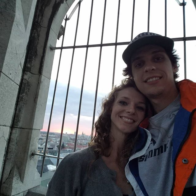 On top of the Glockenspiel tower in Munich just in time to watch the sunset.