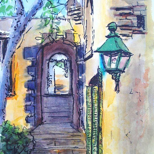 Walkway at Montsalvat, Victoria  #art#arte#artistsoninstagram#watercolor#penandwash #suluboya#watercolors#watercolour#watercolorart #watercolorpainting#myartwork#watercolorartist #impressionist#montsalvat#eltham#victoria#australia