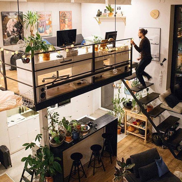 2 poziomy u @morakorytowska ❤️❤️❤️ Cudo! ✨ #homebook #homedecor #homedesign #interior #living #interiordesign #designhouse #loft #industrialdesign #inspirations
