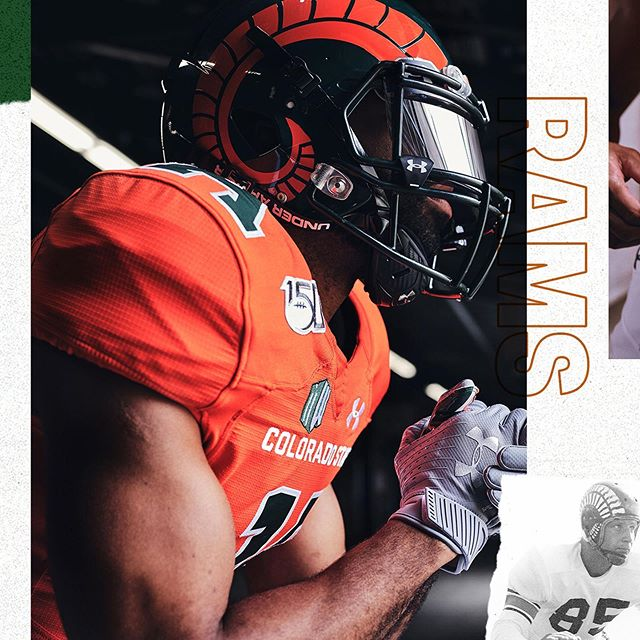 "Ram pride. @csufootball revisits its agricultural roots this weekend with a symbolic #CFB150 uniform. Watch our story to find out why ""Aggie Orange"" and ""Alfalfa Green"" are featured in this tribute throwback."