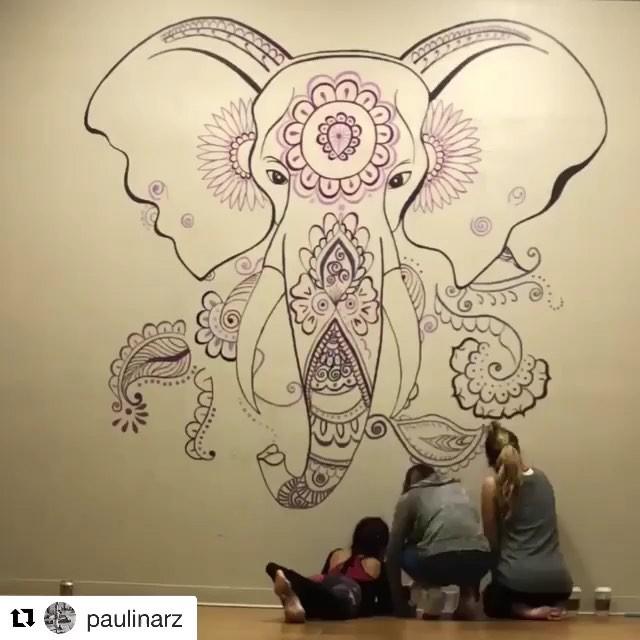 "#Repost @paulinarz with @get_repost ・・・ We did it again! 😜 as Da Vinci would say ""art is never finished, only abandoned"" 😉 #elephantonthewall #yogashalasa #ashtangayoga #ashtangalove #teamwork @lilaprats y gracias @vanessazr12 por tu ayuda! 😘 #practiceyogachangeyourworld #paintingandtalking #ingreatcompany #suchagoodtime #ganesha #yogafun #yogalife"