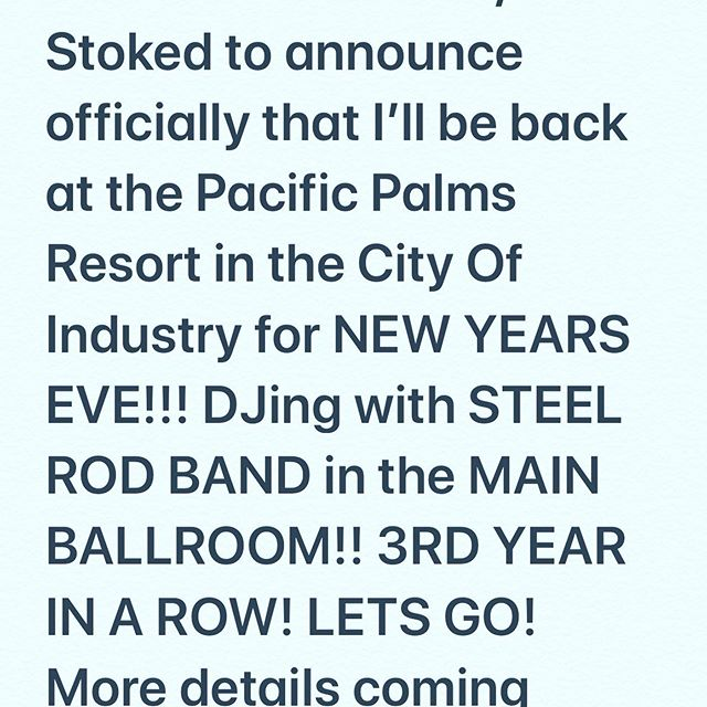 JUST BEEN OFFICIALLY CONFIRMED!!details coming soon!!! Let's go!!!! #music #musiclife #musiclifestyle #steelrod #steelrodband #pacificpalmsresort #pacificpalms #cityofindustry #sangabrielvalley #626 #dj #djlife #djlife🎧 #djlifestyle #pioneerdj #band #liveband #letsgo #getit #newyears #newyearseve #newyearseve2019 #2020 #life #blessed🙏