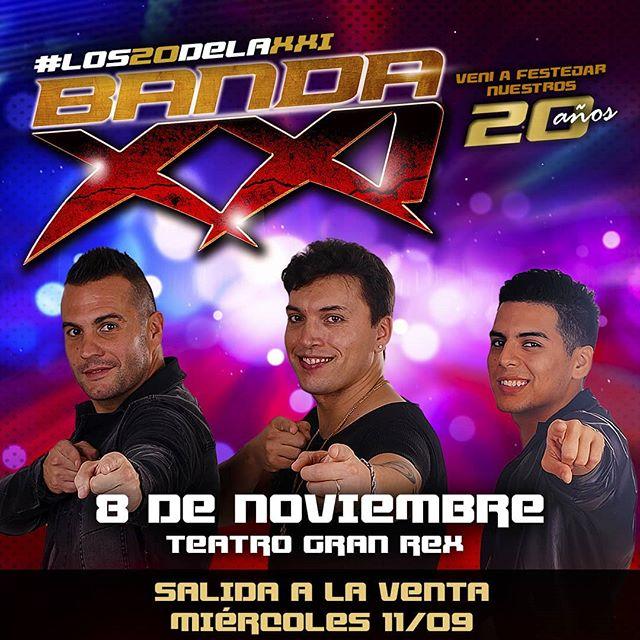 08 de noviembre #Los20DeLaXXI #BandaXXI #TeatroGranRex Entradas en venta online Ticketek (info en nuestra bio) y boleterías del teatro.