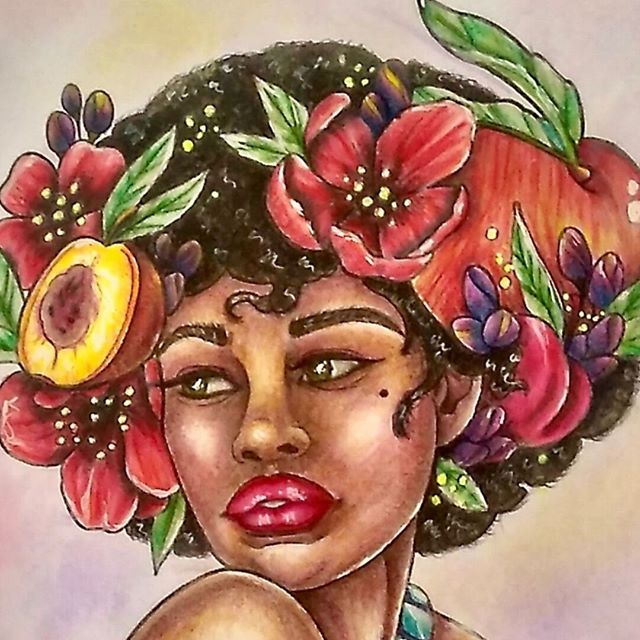 """""""Afro Lady"""" - Time-Lapse - Muse Coloring Book - Madison Tease"""