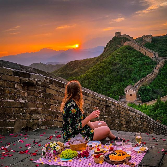 Sunset picnic at Great Wall with @greatwallmylove — Joyful Experience, Beautiful Memories! 🥂. 📷Xiaowei @greatwallmylove  Edit:sassia @greatwallmylove  PS: All the Great Wall Picnic Tour in September and October is SOLID OUT, Available for booking from November 1st. . . . . . . . . #greatwallofchina #greatwall #thegreatwallofchina #thegreatwall  #chinatrips #unlimitedvoyage #lightroom #visit_beijing  #shotoniphone  #earthescope #travelstyle #artofdestinations #wanderwomaninc #greatwallmylove #bucketlisttravel  #allbeauty_addiction #travelanddestinations  #depthofearth #igbest_shots #TravelMagic #worldmobilephotography #lifestylephotography #chinadestinations #travelrepost #iammissadventure #explorerocreate #beautifulmoments #sunset #travelphotographyoftheday #traveldeeper