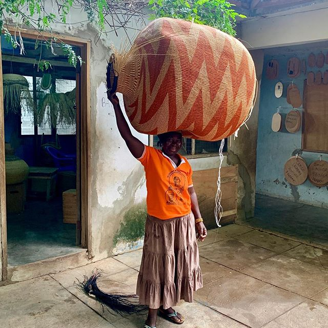 "BASKET LIFE • Master Weaver Assibi Assah with her latest creation.. a ""Mama 10 Cows"" of epic proportions! Assibi's very precise weaving style amplified in this incredible piece. Basket is art we believe! Just WOW!✖️ 🧡💪🏿🧡💪🏿🧡 #cultureofbaskets #babatreebaskets #artisanbaskets #brandswithpurpose #socialimpact #femaleempowerment #slowdesign #basketlife"