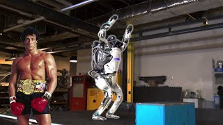 Atlas robot training to Getting stronger now (Rocky theme song)