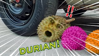 TRYING DURIAN  Crushing Crunchy Things With Car : CAR VS   DURIAN !!!!   It is very difficult