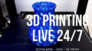 #3D printing live - 24/7 3D printing - Creality CR10 - Now printing: Coffee table laptop shelf (remi