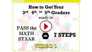 How to Get Your 3rd 4th or 5th Graders Ready to Pass the Math STAAR Video 1 Training